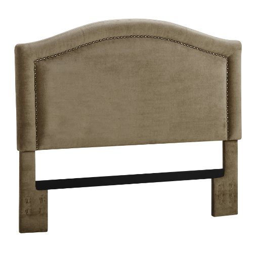 Dorel Asia Upholstered Headboard With Nailheads, King, Stone front-874217