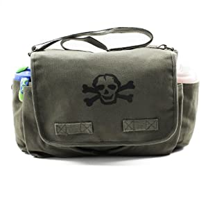 Heavyweight Messenger Diaper Bag in Olive with Black Skull from Crazy Baby Clothing