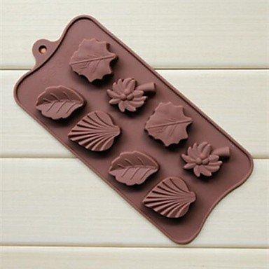 LY&HYL 8 trou érable noix de coco feuilles de palmier forme gâteau glace gelée de moules à chocolat, silicone 22 × 10,3 × 1,6 cm (8,7 x 4,1 x 0,6 pouces)