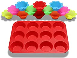 Muffin Pan 12 Cup & Reusable Silicone Baking Cups (12-Pack) - Muffin Tin, Cornbread Pan, Cupcake Pan, or Cupcake Liners - Nonstick, Flexible, & Easy to Clean - Freezer, Oven, & Dishwasher Safe