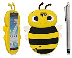 iSee Case Cartoon Bumble Bee Silicone Full Cover Case Samsung Galaxy Note 2 N7100 Free iSeeCase Stylus (Note2-Bee Yellow+Stylus)