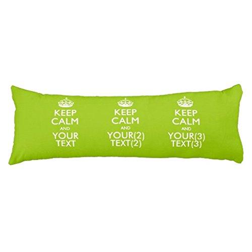 Personalizzato KEEP CALM AND il testo sul cuscino verde lime