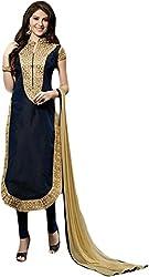 Begum Riwaaz Women's Georgette Unstitched Dress Material(1002, Black)