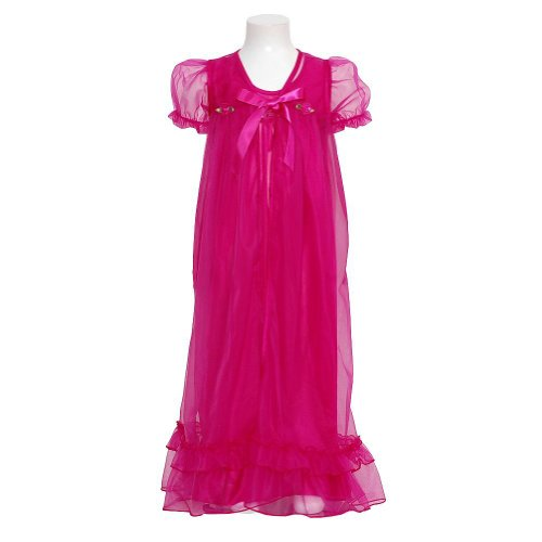 Laura Dare Girls 5 Fuchsia Sheer Flower 2Pc Nightgown Robe Set front-847147