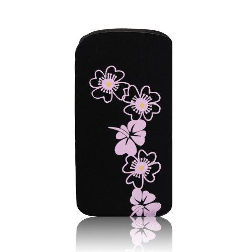Daisy Case Handytasche für Sony xperia J ST26i schwarz mit Blumenmuster Handy Deko Schutz Tasche Hülle