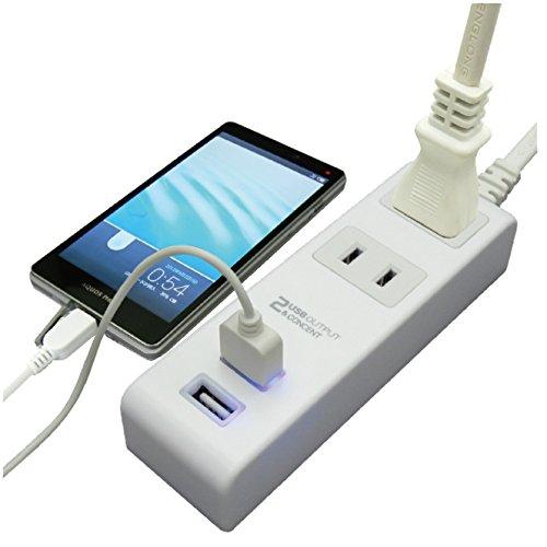 M4213 USB付きコンセントタップ 1.5m 2ポート計2.4A付 ホワイト