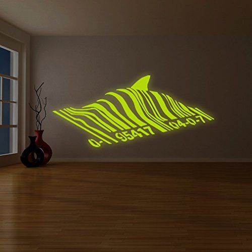 "( 79"" x 35"" ) Banksy Glowing Vinyl Wall Decal Barcode Shark / Glow in Dark Fish Bar Code Sticker / Graffiti Street Luminescent Mural + Free Decal Gift"
