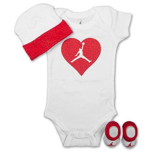Nike Jordan Baby Bodysuit, Booties and Cap; 0-6 Months; 3 Piece Set; New