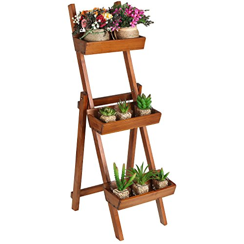 Ladder Design Wooden Plant Rack / Flower Planter Box / Display Stand ...