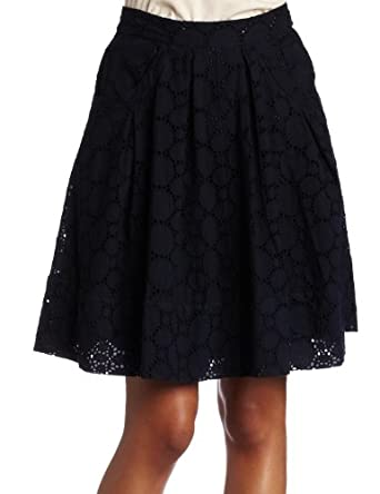 Calvin Klein Womens Large Eyelet Pleated Flare Skirt, Navy, 2