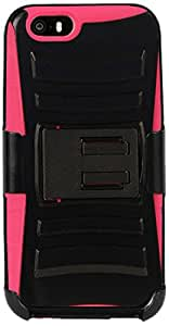 C&E Shell Case Armor Combo for Apple iPhone 6 - Non-Retail Packaging - Black/Hot Pink