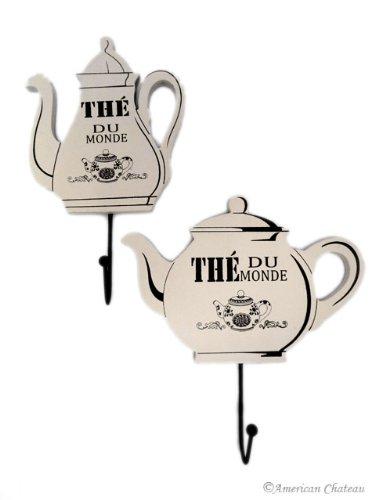 Set 2 Beige French Teapot Tea Coffee Pot Wall Kitchen Towels Hooks Hangers