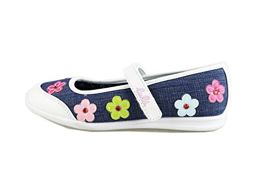 scarpe bambina LULU' 35 EU ballerine blu / bianco tela / pelle AG648