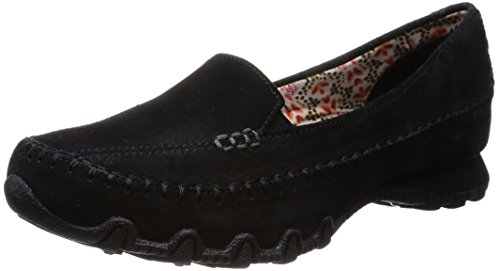 Skechers Women's Bikers-Pedestrian Memory Foam Moccasin,Black Suede,9 W US