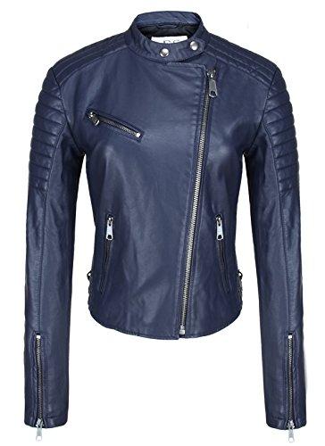 Escalier Women Blue Faux Leather Motorcycle Jacket