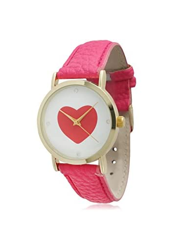 Olivia Pratt Women's 13294 White with Hot Pink Heart Leather Watch As You See