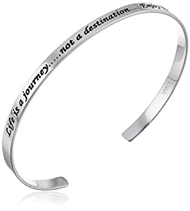 "Sterling Silver ""Life Is A Journey, Not a Destination, Enjoy The Moments"" Cuff Bracelet by Amazon Curated Collection"