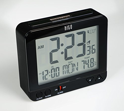 hito atomic radio controlled travel alarm clock w date temperature week alarm status. Black Bedroom Furniture Sets. Home Design Ideas