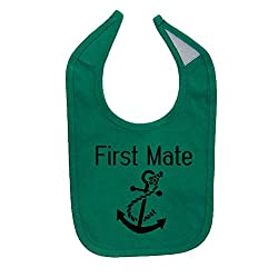 We Match! Unisex-Baby First Mate (Matches The Captain & First Mate Set) Cotton Baby Bib (Kelly Green)