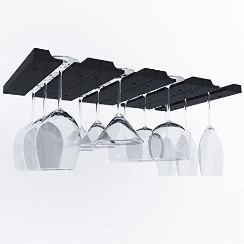 Hanging Under Cabinet Stemware Wine Glass Holder Rack , Adjustable Stemware Glass Storage Wood , Pack of 2 (Black) (Wood Wine Glass Hanging Rack compare prices)