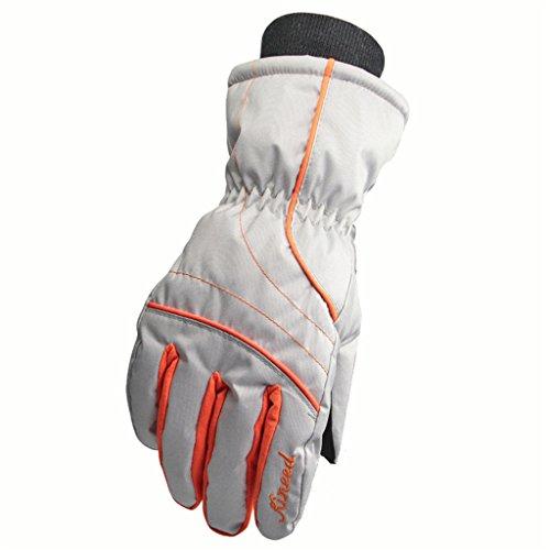 Runtlly Women's Outdoor Skiing Gloves Winter Warm Gloves Full Finger Waterproof Gloves Athletic Gloves 08-Silver