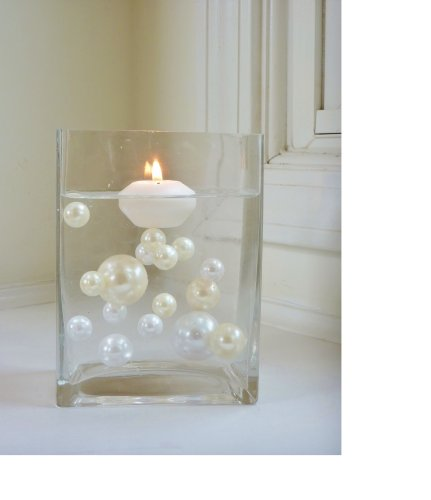 40 Jumbo & Assorted Sizes Ivory Pearls and White Pearls Vase Fillers - NOT INCLUDING THE TRANSPARENT WATER GELS FOR FLOATING THE PEARLS - Sold Separately...