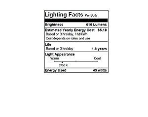 SYLVANIA Halogen Lamp Double life / Dimmable Light Bulb A19 / Energy-saving replacement for 60W Incandescent / Medium base E26 / 43 Watt / 2750K - soft white, 4 Pack (Color: Soft White, Tamaño: 2000 Hours Life)
