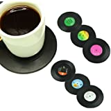 Voberry Cute Dishwasher Safe Vinyl Record Coaster Set - Pack of 6 Retro Novelty Drink Mats