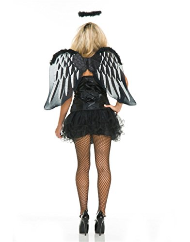 Adult Womens Black Angel Cute Tutu and Wings Costume Accessory Set