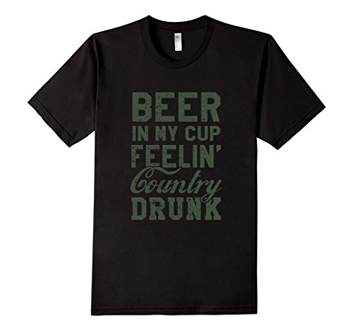 Men's HC-011 BEER IN MY CUP FEELIN' COUNTRY DRUNK T-SHIRT 3XL Black