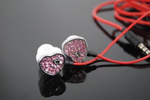 Kabb Pink Premium 3.5Mm Diamante Diamond Stereo Handsfree Headset Earbuds Earphones Headphones With Mic(Pink) +2 Earplug+1 Fishbone Earphone Cable