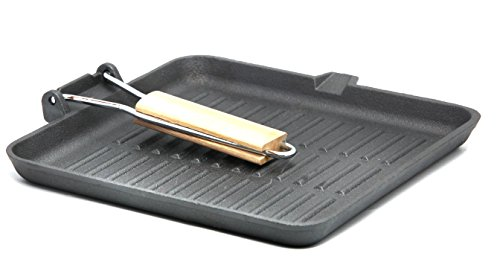 GURO GUS189 Cast Iron Pre-Seasoned Square Griddle Frypan with Wooden Handle, 9.8