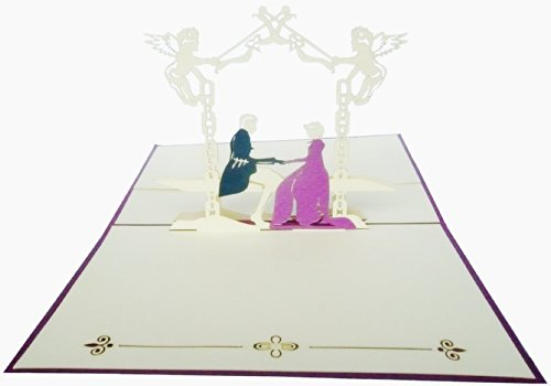 """Pop Up 3D Greeting Cards """"Bridal Couple In The Castle Garden"""" front-868677"""