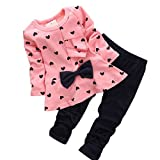 Shensee Baby Girl Sets Heart-shaped Print Bow Cute 2PCS Kids Set T shirt + Pants (6-12 Month, Pink)