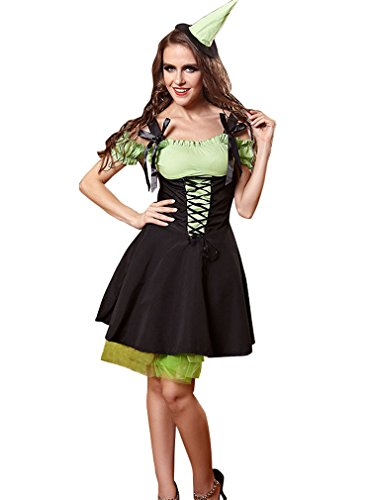 [YueLian Women's Green Elf Cosplay Maid Party Costume Outfit Dress] (Elf Outfit For Women)