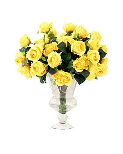 Creative Displays Yellow Rose Bouquet in a Crystal Vase