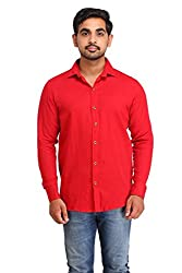 Snoby red plain cotton shirt SBY8069