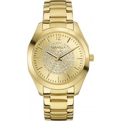Caravelle New York 44L159 Ladies Glitz Gold Steel Bracelet Watch