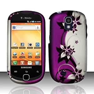 Purple Silver Vine Hard Faceplate Cover Phone Case for Samsung Gravity Smart T589 Galaxy Q T589 SGH-T589