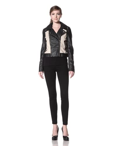 Sam Edelman Women's Stevie Vegan Leather and Coated Linen Jacket  - Black