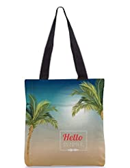 Snoogg Summer Vector Illustration With Palm Tree Designer Poly Canvas Tote Bag