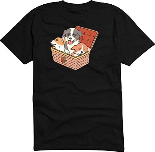 T-Shirt-Camiseta-D854-Hombre-negro-con-la-impresin-en-color-S-diseo-Tribal-cmico-grfico-perrominsculo-cachorro-en-el-cesta