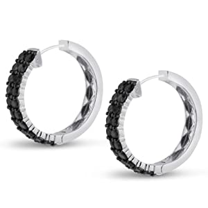 2ct Black Diamond Pave Hoop Earrings Crafted In Solid Sterling Silver by SuperJeweler