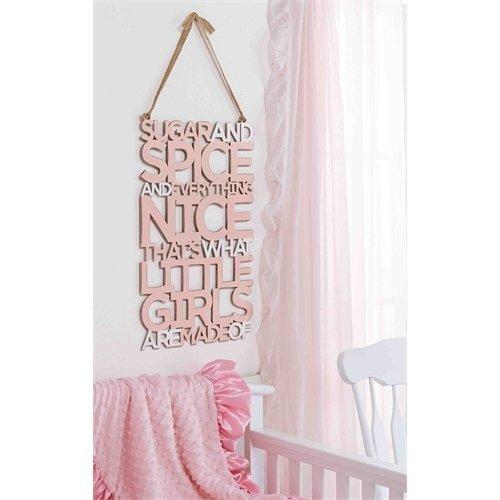 Mud Pie Little Girls Sugar & Spice Word Sign,Pink