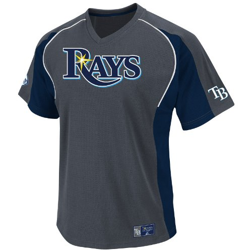 MLB Tampa Bay Rays Cleanup Hitter V-Neck Top, Granite/Navy/White, Medium