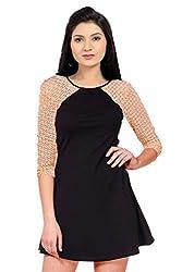 Ishin Viscose Black & Peach mini dress