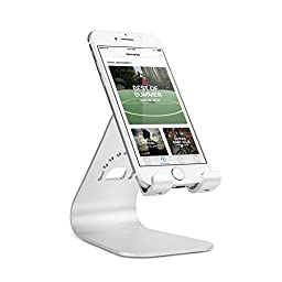 Spinido Aluminium iPhone 7 Plus Desk Stand Holder Compatible With All Smartphone With Cases- Silver