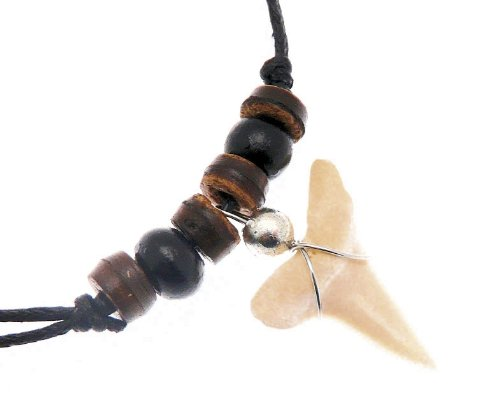 Black Cord & Coco Wood Bead Surf Style Necklace With Sharks Tooth