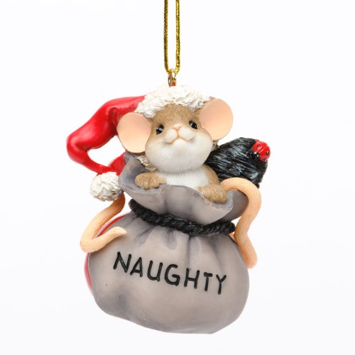 Enesco Charming Tails Naughty or Nice Ornament, 2.25-Inch