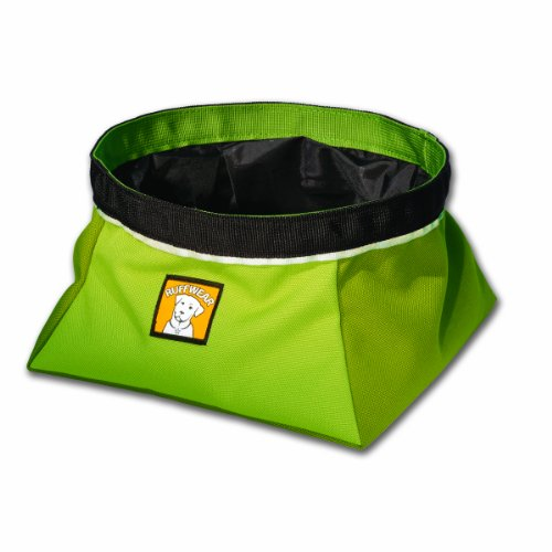 Ruffwear Quencher Collapsible Waterproof Travel Dog Bowl, Lichen Green, Large